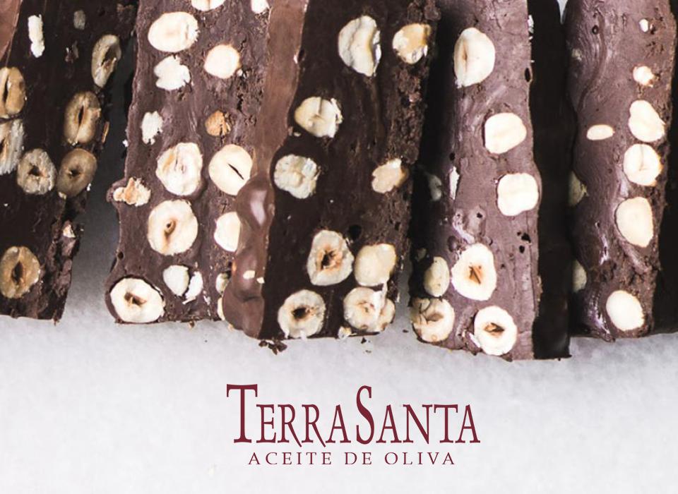 Turrón navideño de chocolate con aceite de oliva
